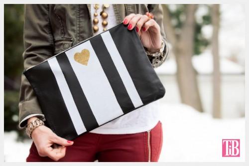 striped leather clutch (via trinketsinbloom)