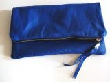 leather foldover zipper clutch