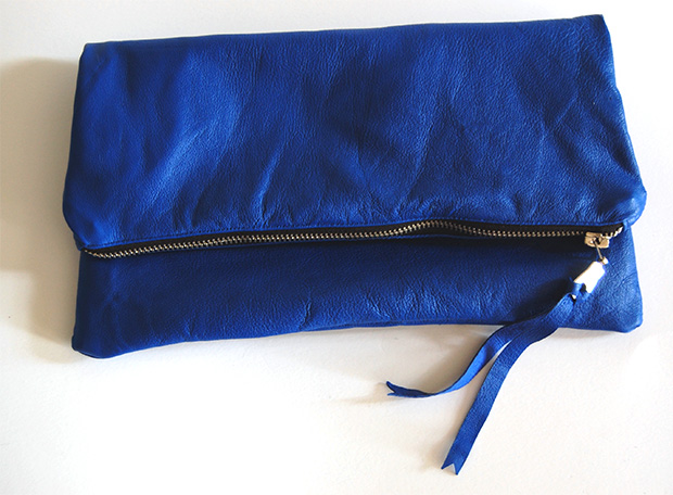 leather foldover zipper clutch