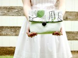 cotton and leather fold over clutch