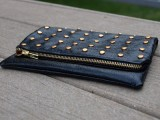 studded leather foldover clutch