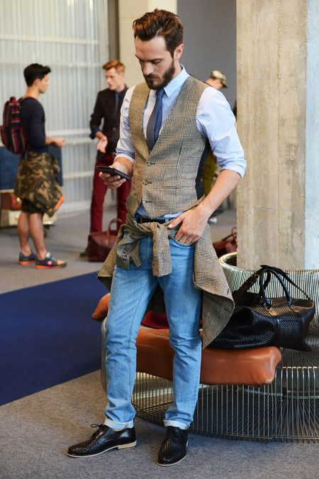 Picture Of stylish men looks with jeans suitable for work  10