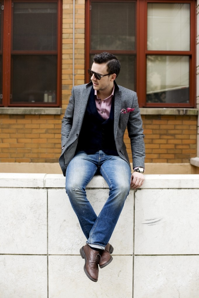 Picture Of stylish men looks with jeans suitable for work  31
