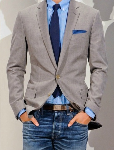 Picture Of stylish men looks with jeans suitable for work  40