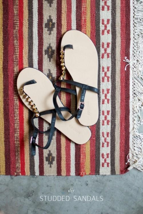 Super Cool DIY Studded Sandals
