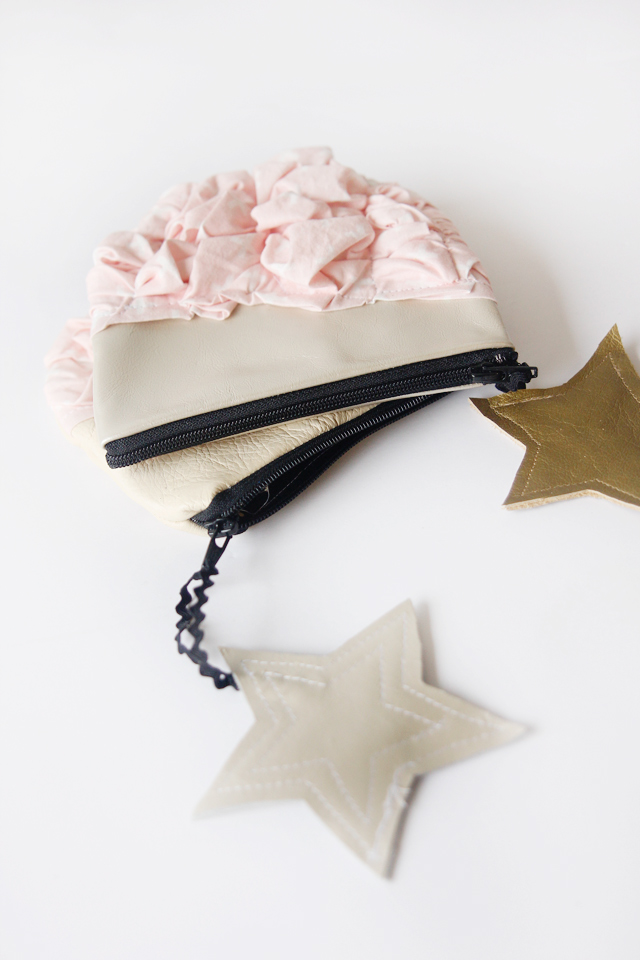 Picture Of super cute diy smashed fabric and leather pouches  7