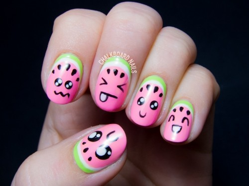 Super cute diy watermelon nail art styleoholic super cute diy watermelon nail art prinsesfo Images