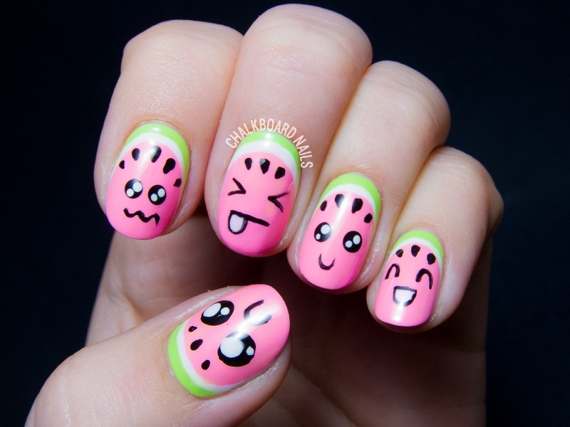 Picture Of super cute diy watermelon nail art  1