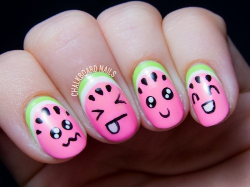 Super Cute DIY Watermelon Nail Art