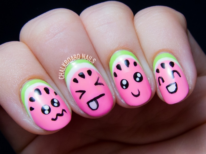 Picture Of super cute diy watermelon nail art  2