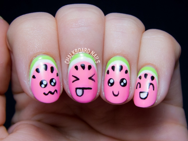 Picture Of super cute diy watermelon nail art  3