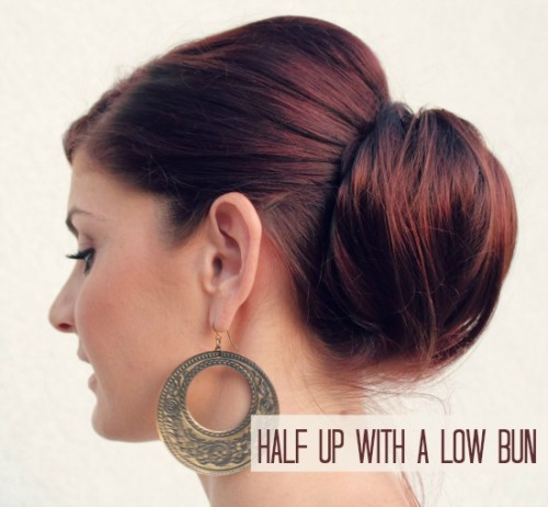 half up with a low bun (via manouvellemode)