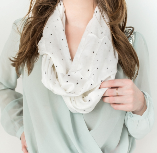 Picture Of sweet and airy diy dotted summer scarf  2