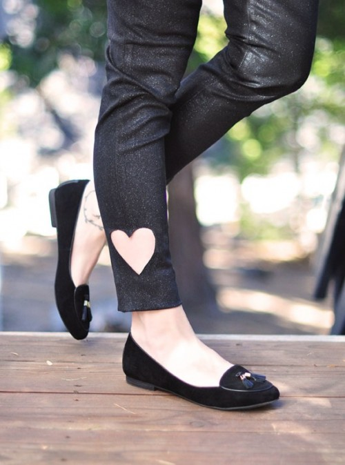 DIY Heart Cut Out Ankle Jeans For Valentine's Day