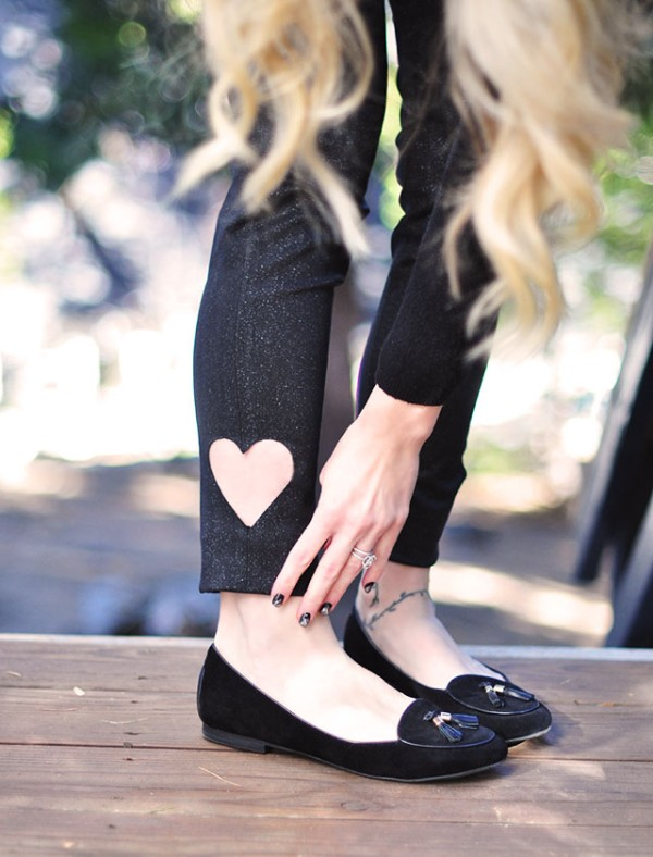 Picture Of sweet diy heart cut out ankle jeans to make for valentines day  3