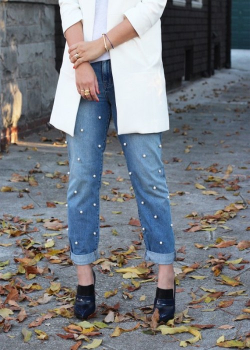 The Hottest Fashion Trend 10 Pearl Embellished Denim Outfits - Styleoholic