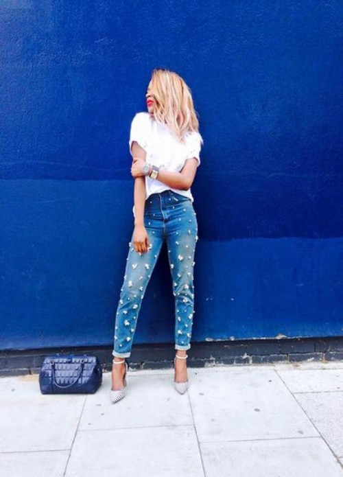 The Hottest Fashion Trend 10 Pearl Embellished Denim Outfits | Styleoholic