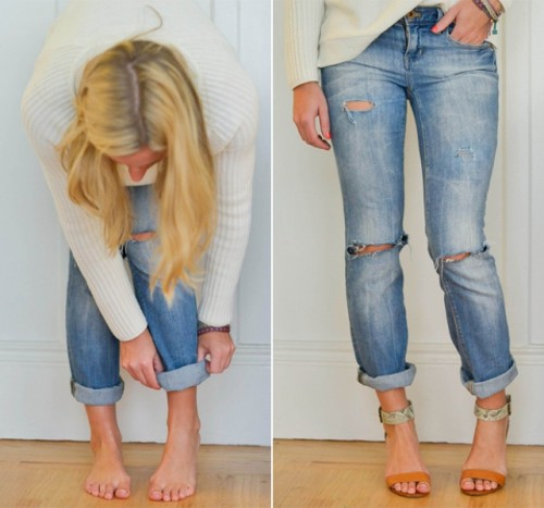 Trendy DIY Distressed Boyfriend Jeans