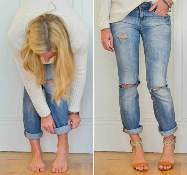 Picture Of trendy diy distressed boyfriend jeans  1
