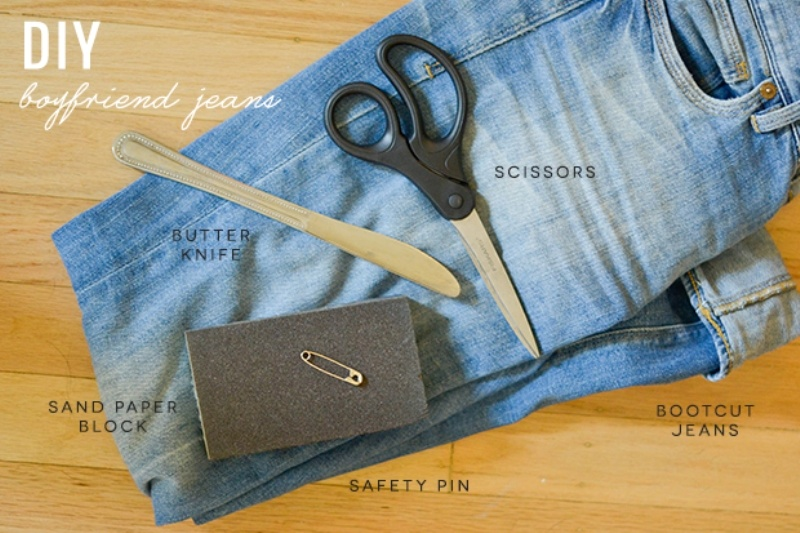 Picture Of trendy diy distressed boyfriend jeans  2