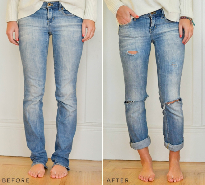 Picture Of trendy diy distressed boyfriend jeans  5