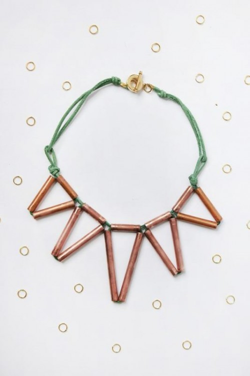 Trendy DIY Geometric Copper Necklace