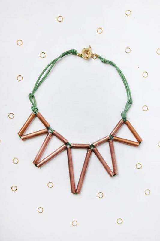 Picture Of trendy diy geometric copper necklace  1