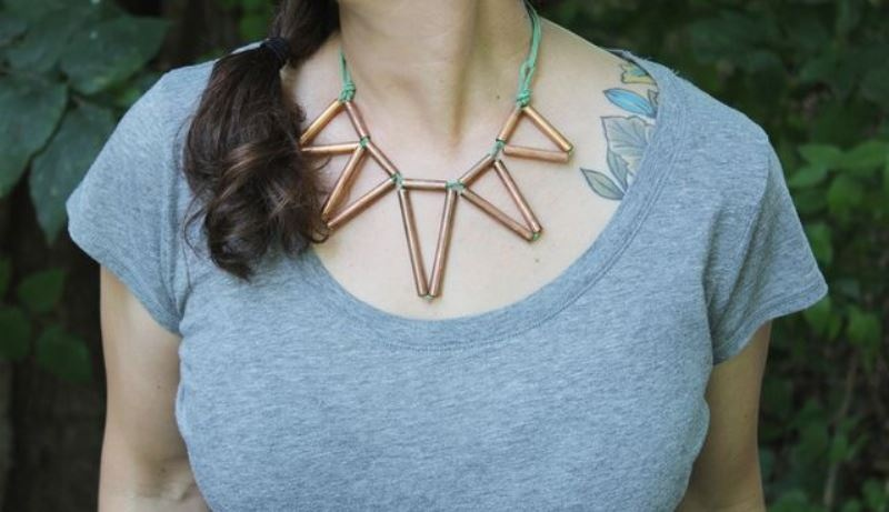 Picture Of trendy diy geometric copper necklace  2