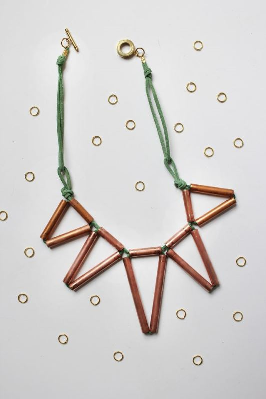 Picture Of trendy diy geometric copper necklace  3