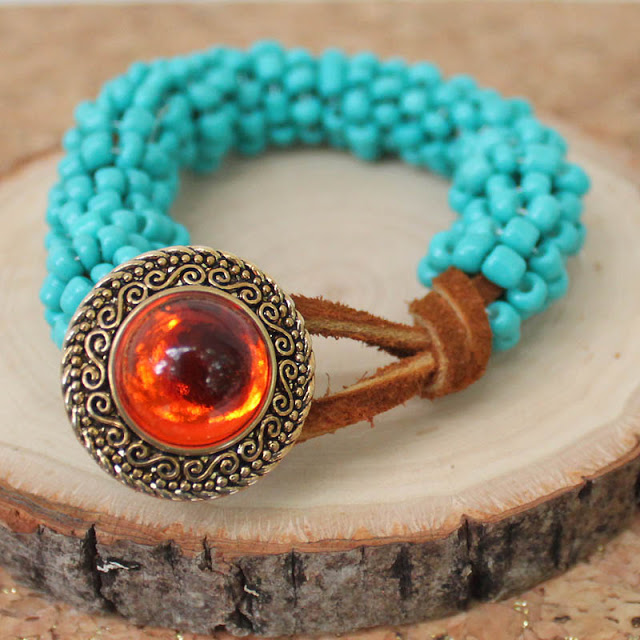 Picture Of turquoise wrapped diy statement bracelet  1