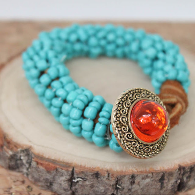 Picture Of turquoise wrapped diy statement bracelet  2