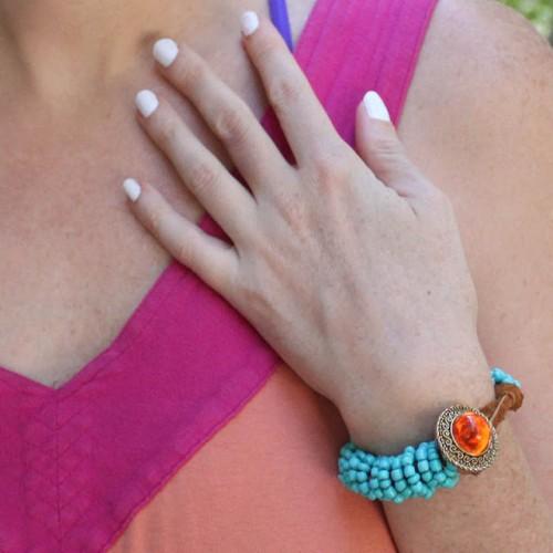 Turquoise Wrapped DIY Statement Bracelet