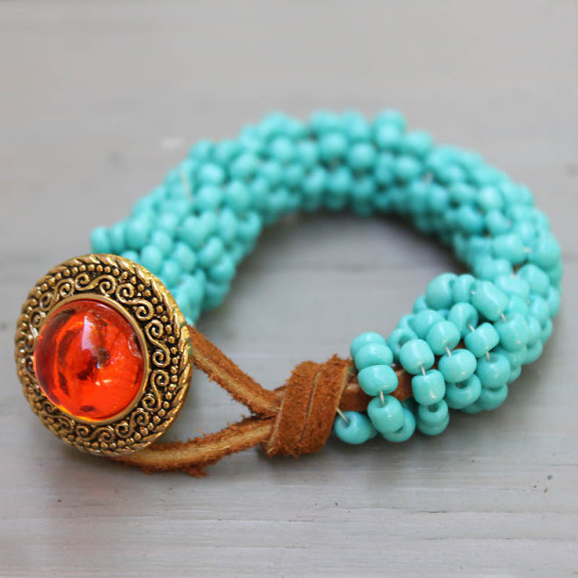 Picture Of turquoise wrapped diy statement bracelet  4