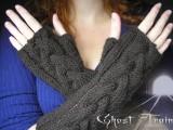 ghost train fingerless gloves