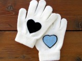 heart-decorated gloves