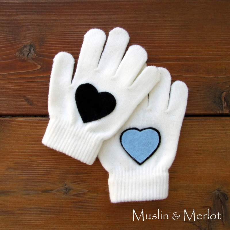 heart decorated gloves