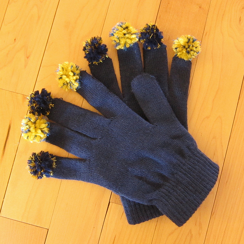 gloves with pompom fingers (via justcraftyenough)