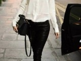 leather pants, a white button down, black shoes and a black bag for a sexy monochrome look