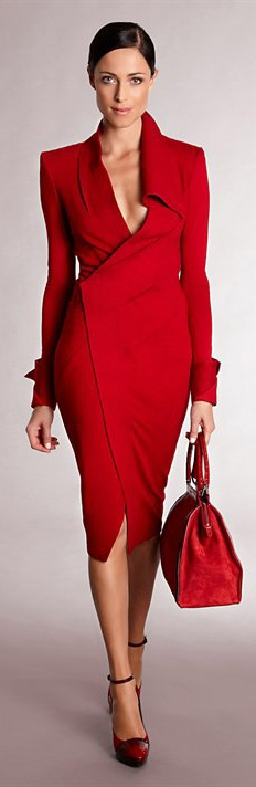 a fitting red wrap dress with long sleeves, a large bag and red shoes for a bold and sexy monochromatic outfit