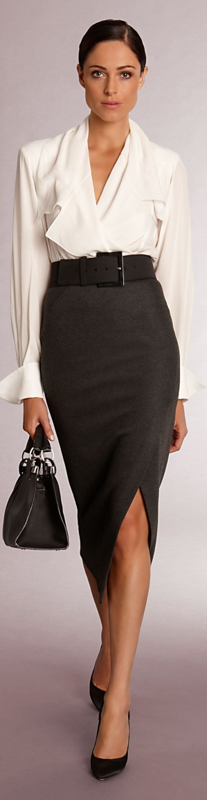a monochromatic look with a black pencil midi, a white button down, blakc heels and a black bag brings a sexy yet work-appropriate feel