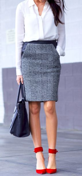 a white button down, a grey pencil skirt with pockets, red ankle strap shoes that add a sexy feel and a black bag