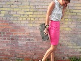 a sleeveless polka dot top, a pink pencil skirt, a black clutch and black shoes create a bright and very girlish look