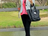 a hot pink top and shoes, black skinnies to show off your legs, a striped blazer and a black bag