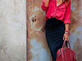 a black pencil midi, a hot pink button down, polka dot shoes and a fuchsia bag is a chic outfit for summer
