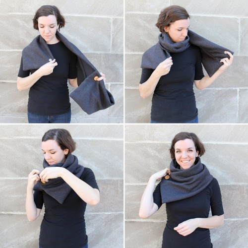Warm DIY No Knit Cowl With A Big Button