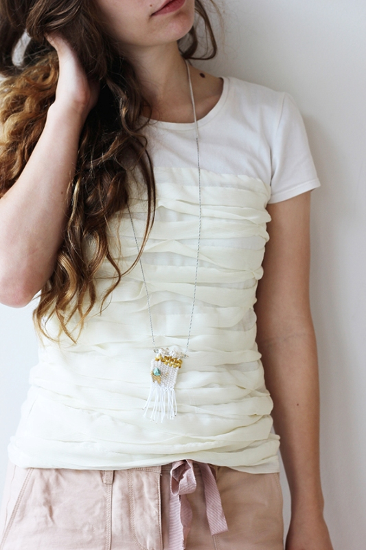 Picture Of whimsy and original diy woven necklace  2