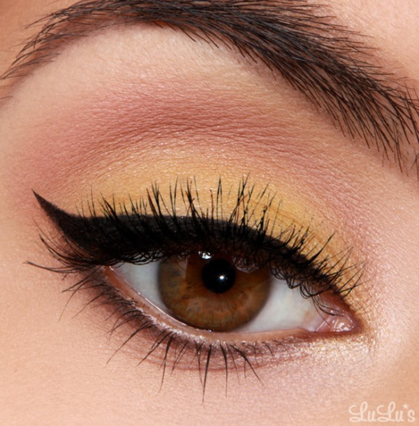 Picture Of whimsy diy canary yellow makeup with winged eyeliner  1