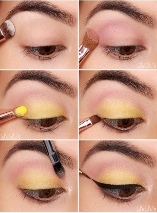 Whimsy DIY Canary Yellow Makeup With Winged Eyeliner