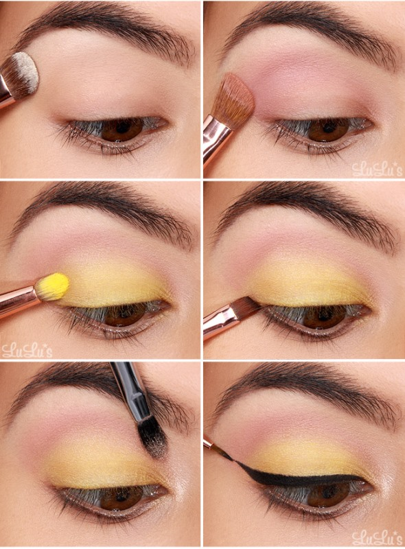 Picture Of whimsy diy canary yellow makeup with winged eyeliner  2